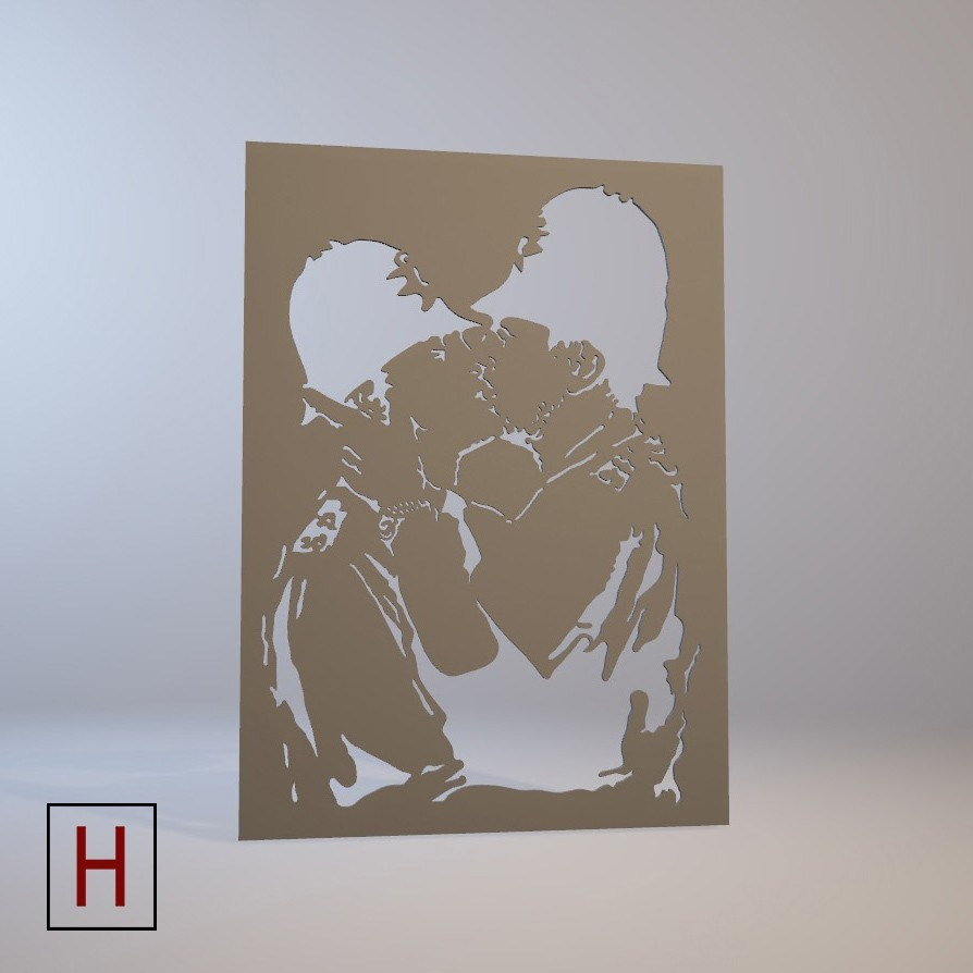 Cults - Banksy - Kissing cops 3 logo.jpg Download STL file Stencil - Banksy - Kissing cops • 3D printable template, Made_In_Space