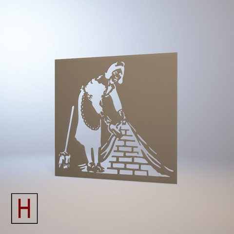Download 3D printer designs Stencil - Banksy - French maid, HorizonLab