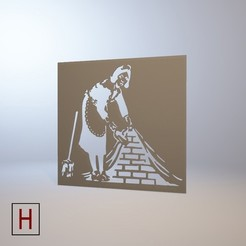 stl file Stencil - Banksy - French maid, HorizonLab