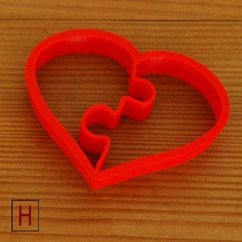 3d printer designs Cookies cutter - Heart puzzle, HorizonLab