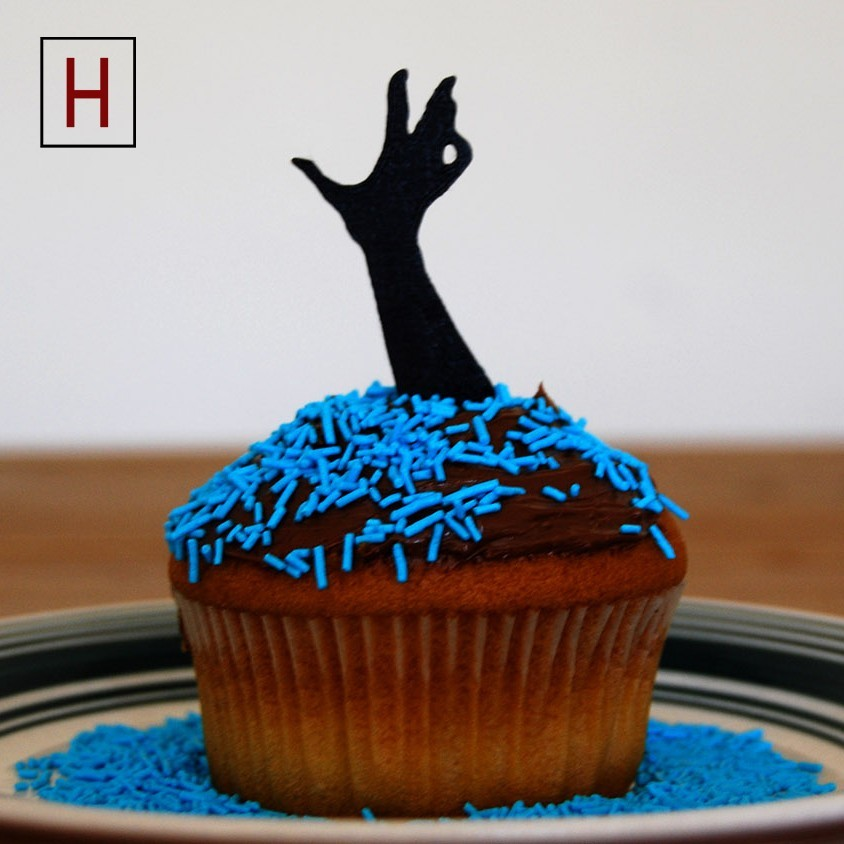 Cults - Topper - Zombie Hand 2 logo.jpg Download STL file Night of the living muffins • 3D printing object, InSpace