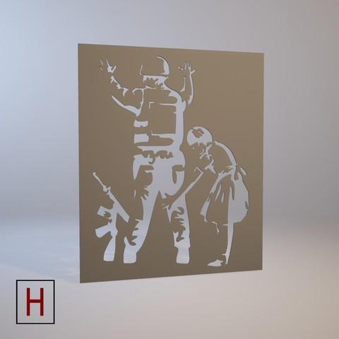 3D printing model Stencil - Banksy - Girl frisking police, HorizonLab
