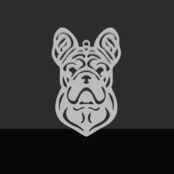 Franse Bulldog.png Download STL file French bulldog pendant • 3D printable template, JordanHogetoorn