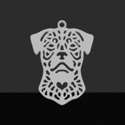 Rottweiler.png Download STL file Rottweiler pendant • 3D printer template, JordanHogetoorn