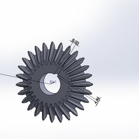 Descargar Modelos 3D para imprimir gratis engranaje cónico 27 dientes, jru