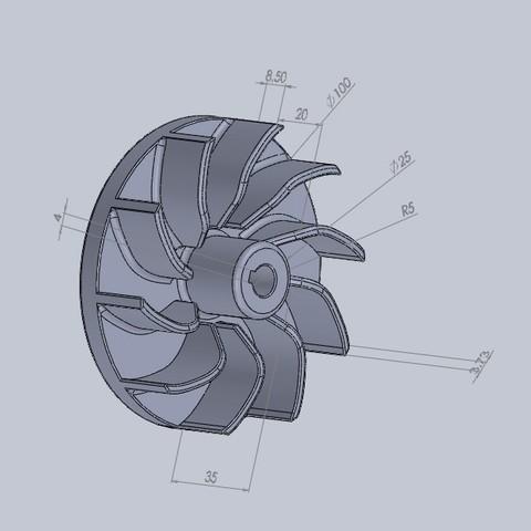 Free 3D print files fan turbine, jru