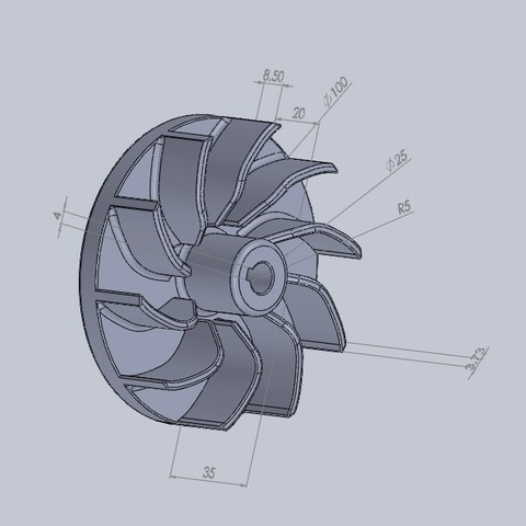 Free ventilating turbine 3D printer file, jru