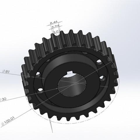 Descargar archivo 3D gratis engranaje 30 dientes (gear 30 teeth), jru