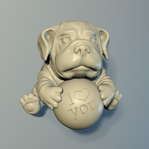 3D printer files The puppy with a ball 3D print model, Oldtinsold
