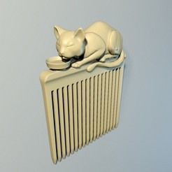 "Cat_plate_00.jpg Download OBJ file Hair comb ""Cat"" • 3D printing object, Mendeleyev"