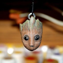 Download free 3D printer model Baby Groot Head Chain Pull / Keychain, rebeltaz