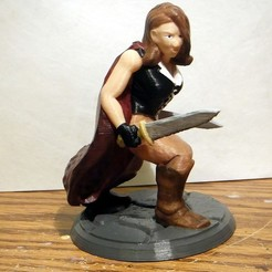Free 3D print files Desktop Hero Heroine with Cape and 2 Swords, rebeltaz