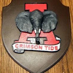 Imprimir en 3D gratis Placa Crimson Tide de Alabama, rebeltaz