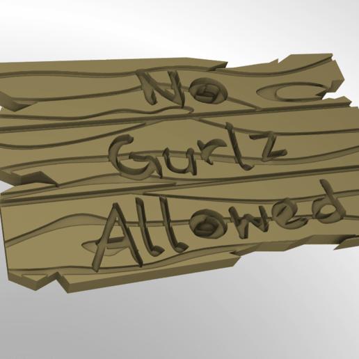 Download free 3D print files No Gurlz Allowed Wooden Sign, rebeltaz