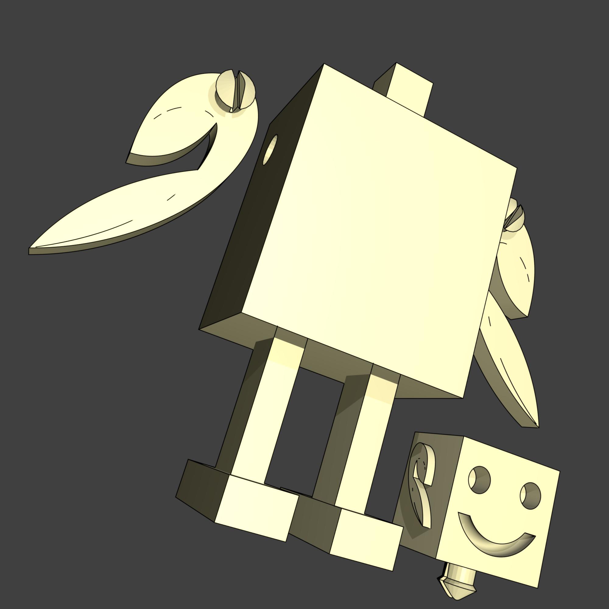 render robot articulé trai.png Download free STL file Robotic mascot robot V2 • 3D printer template, EdeziV