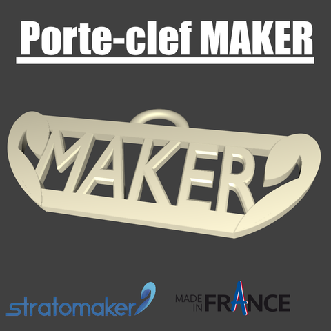 porte clef rendu final.png Download free STL file MAKER stratomaker key ring • 3D printing model, EdeziV