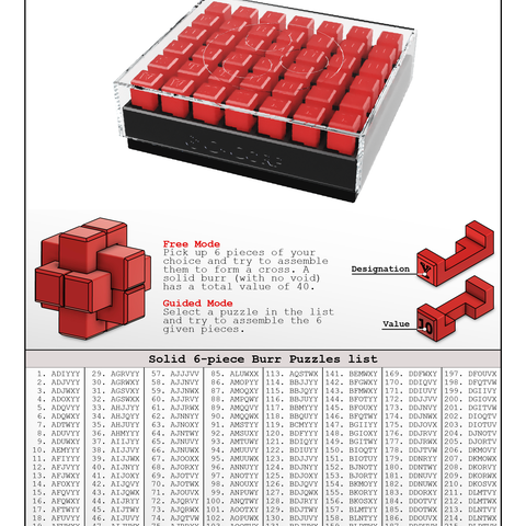 Burr_Page1.png Download free STL file 6-Piece Burr Puzzle - Set of 42 pieces • 3D printable model, ChampystileCorp