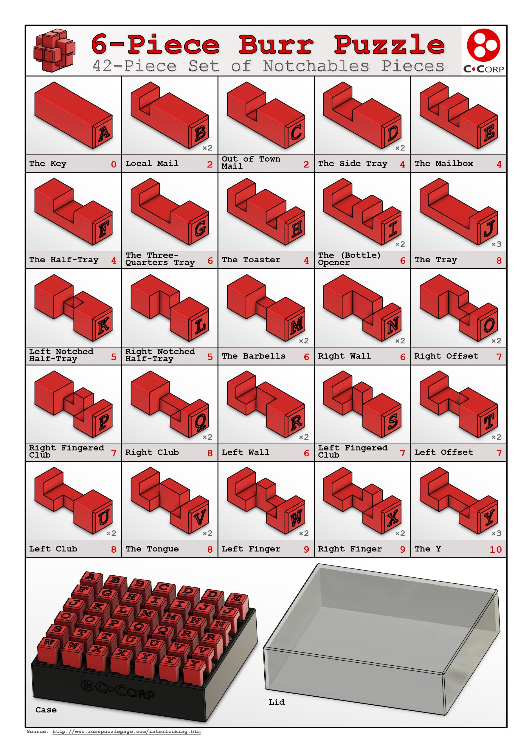 Burr_Page2.png Download free STL file 6-Piece Burr Puzzle - Set of 42 pieces • 3D printable model, ChampystileCorp