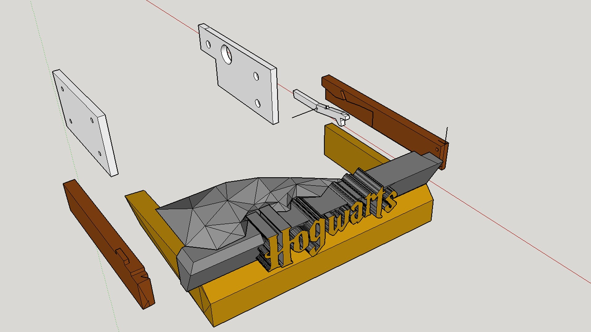 Hidden Drawer Exploded view.jpg Download free STL file Hogwarts School of Witchcraft • 3D printer template, Valient
