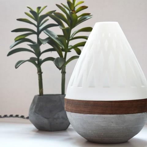 Impresiones 3D gratis Lámpara de lágrima (Componentes 3D impresos, Concreto + Madera), Adylinn