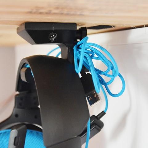 d052fdaa453 3D printing model Under-desk Headphone Hanger, Adylinn