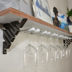 Free 3D print files DIY Wine Glass Shelf - 3D Printed Brackets, Adylinn