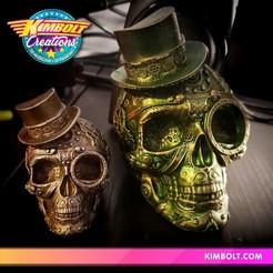 Download 3D printer designs Steampunk Skull, Kimbolt