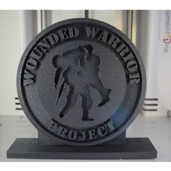 Download free 3D printing files Wounded Warrior Logo with Stand for Memorial Day, filamentone