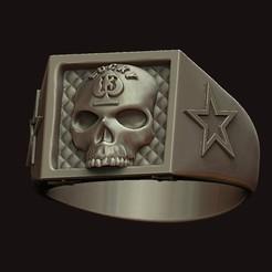 1.jpg Download OBJ file Lucky 13 Skull Ring • Object to 3D print, stavros