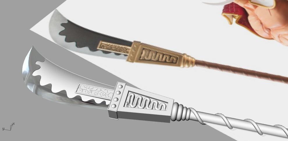 spear1.jpg Download STL file Bisento Spear of white beard One Piece 3D print model • 3D printable design, MLBdesign