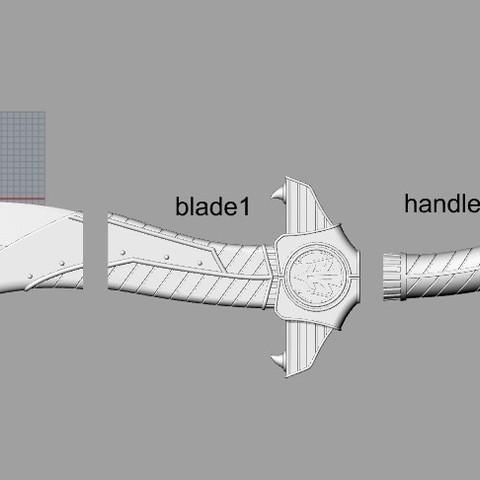sabapieces.jpg Download STL file Power Rangers Legacy Legacy Saba Sword replica 3D print model // Power Rangers saba sword • Object to 3D print, MLBdesign