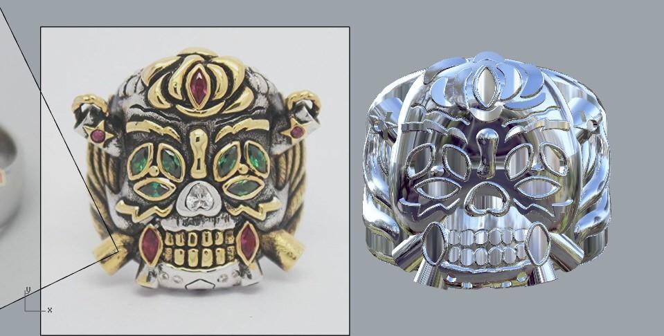 skullnew.jpg Download STL file Lucky Ring from expendables movie 3D print model • 3D printing template, MLBdesign