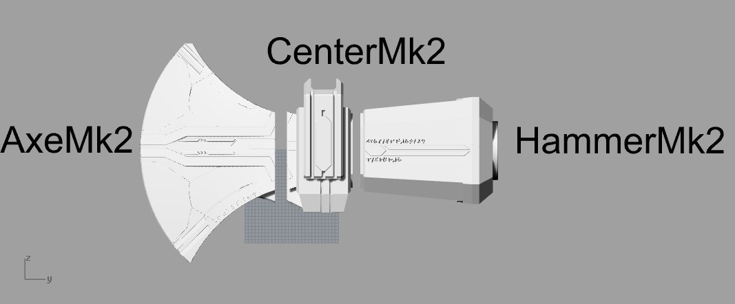 pieces1.jpg Download STL file Stormbreaker New Thor's Weapon from infinity war • 3D print model, MLBdesign