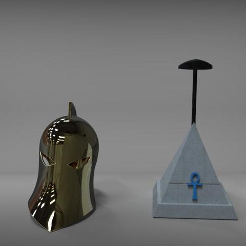 STL files Dr Fate helmet and base // Dr Fate Helmet and stand 3D print model, MLBdesign