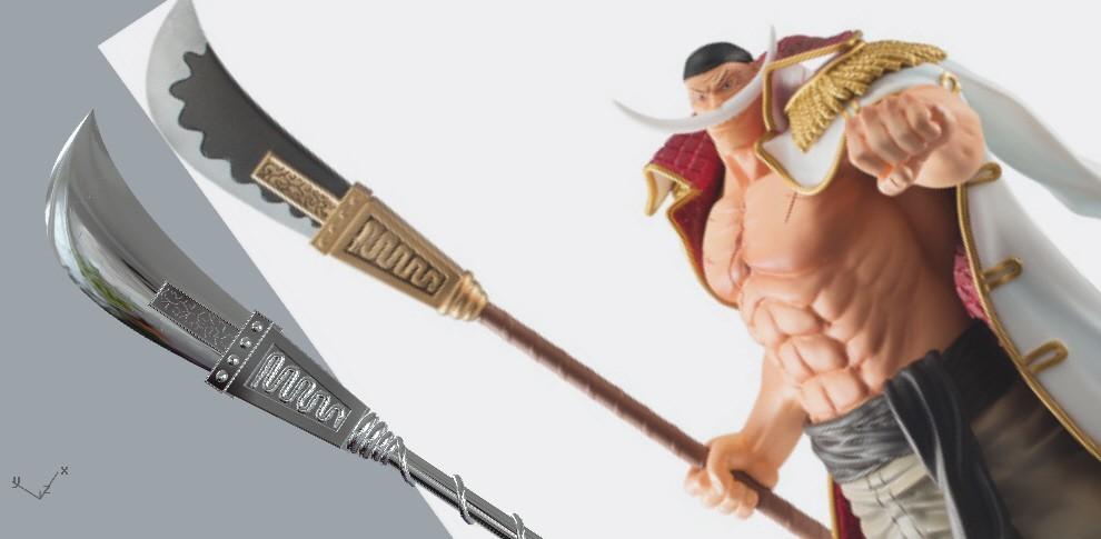 whitebeard_spear.jpg Download STL file Bisento Spear of white beard One Piece 3D print model • 3D printable design, MLBdesign