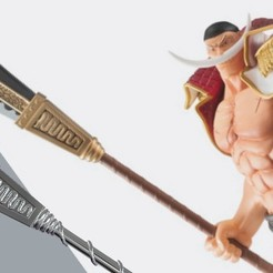 STL files Bisento Spear of white beard One Piece 3D print model, MLBdesign