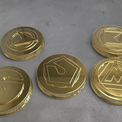 STL file Alien rangers power coins 3D print model, MLBdesign