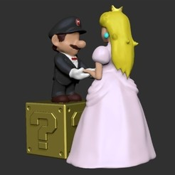 Free Mario and Peach- Wedding Cake Topper STL file, derailed