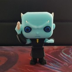 3D printing model night king funko pop from Game Of Thrones GOT. Multi color print with one extruder, marloquemegusta