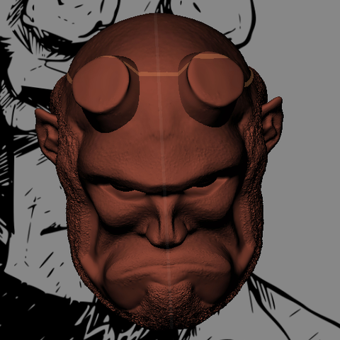 hellboy 2.PNG Download STL file Hellboy Head • 3D printer model, marloquemegusta