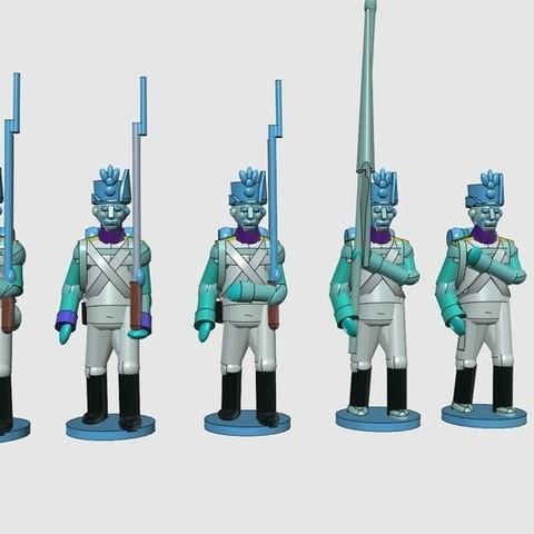f186c99ef3c466fd29afda64402a1c13_display_large.jpg Download free STL file Napoleonics - Part 17 - Austrian Musketeers Grenadiers and Landwehr Mk III • 3D printing model, Earsling