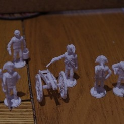 Free 3D printer designs American War of Independence - Part 7 - Generic artillery crew, Earsling