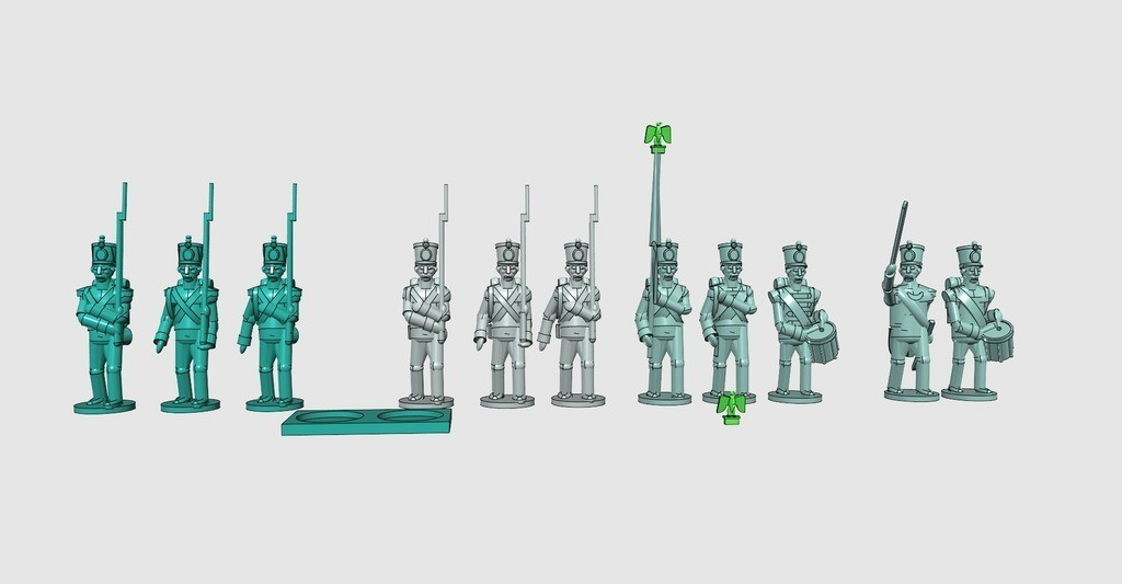 3ddaff4d25ca40a74df76ef6e431cfb7_display_large.jpg Download free STL file Napoleonics - Part 16 - French Infantry Mk III • 3D printing design, Earsling