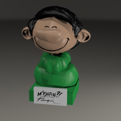 Download free OBJ file Bust of GASTON LAGAFFE of Franquin • 3D printing model, MisterDiD