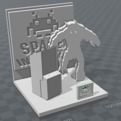 Free 3D printer model space invader diorama, MisterDiD