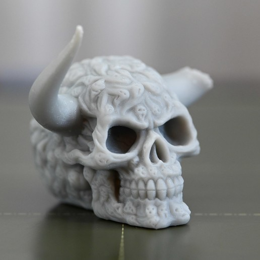 Download free STL file Skull with horns. • 3D printer template, steve220