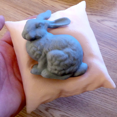 Free Stanford bunny resting on a pillow 3D model, CreativeTools