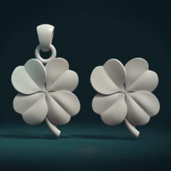 Clover-01.png Download STL file Clover Pendant • 3D print design, Skazok