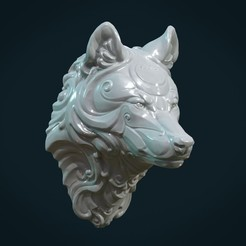 Download 3D printing models Stylized Wolf head, Skazok
