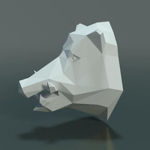 Boars_LP_Head-0002.png Download 3DS file Boar Head Low Poly • 3D print model, Skazok